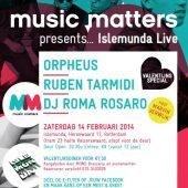 Foto Ruben Tarmidi op de flyer van Music Matters 'Valentijn special'